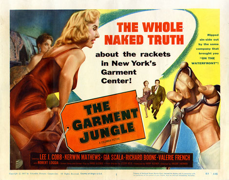 Movie poster for the 1957 film The Garment Jungle