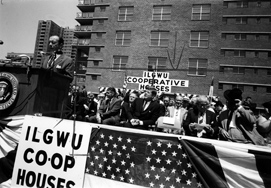 President John F. Kennedy listens as the ILGWU dedicates Co-op housing at Penn Station South