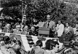 President Lyndon B. Johnson addresses a crown of union workers