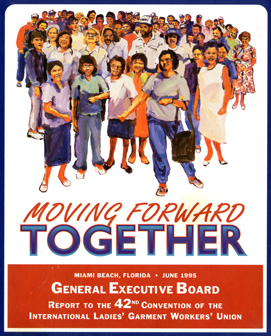Poster of a large group of people and the words, Moving Forward Together