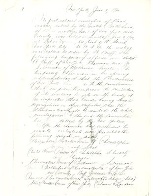 Scanned image of the minutes