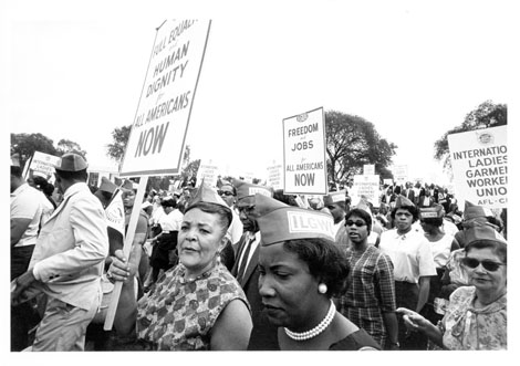 ILGWU members at March on Washington for Jobs and Freedom, female marchers, August 28, 1963
