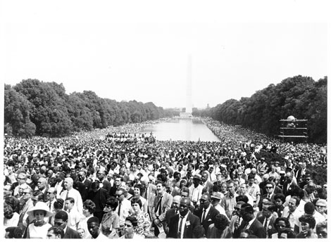 ILGWU members at March on Washington for Jobs and Freedom, at reflecting pool, August 28, 1963
