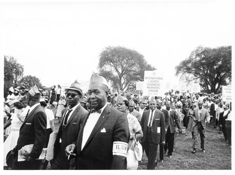 ILGWU members at March on Washington for Jobs and Freedom, male marchers, August 28, 1963