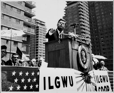 John F. Kennedy at the ILGWU Cooperative Housing dedication