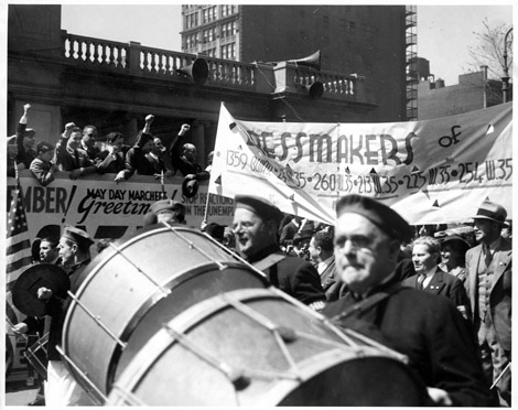 ILGWU members from the Dressmaker Locals march in a May Day Parade, c. 1937.