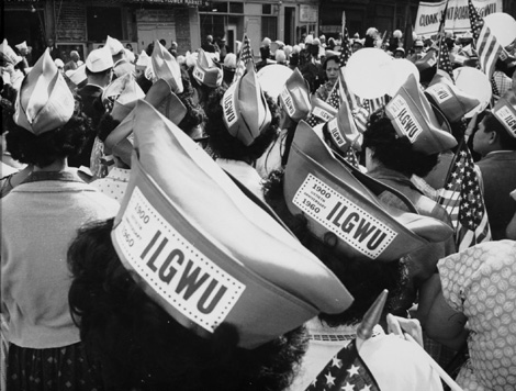 ILGWU members wear 60th anniversary hats during the 1960 Labor Day parade