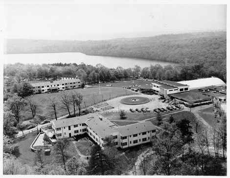 Aerial photograph of Unity House buildings and grounds, circa 1948