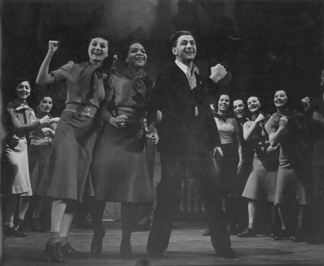 Performance of Back to Work We Go from the ILGWU's Pins & Needles musical revue at the Labor Stage in New York, circa 1937