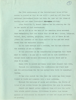 Scanned image of the speech